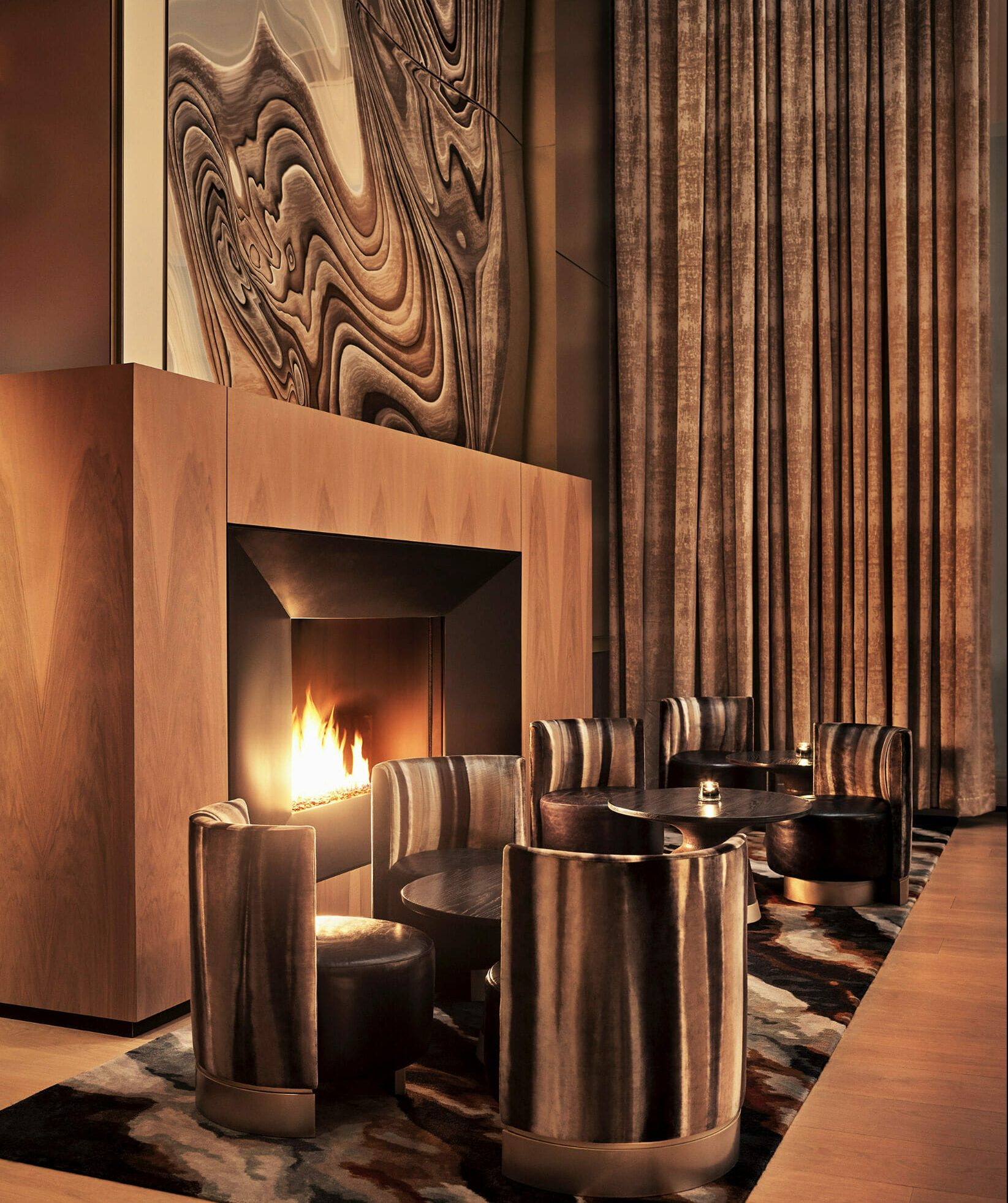 equinox hotel lounge fireplace