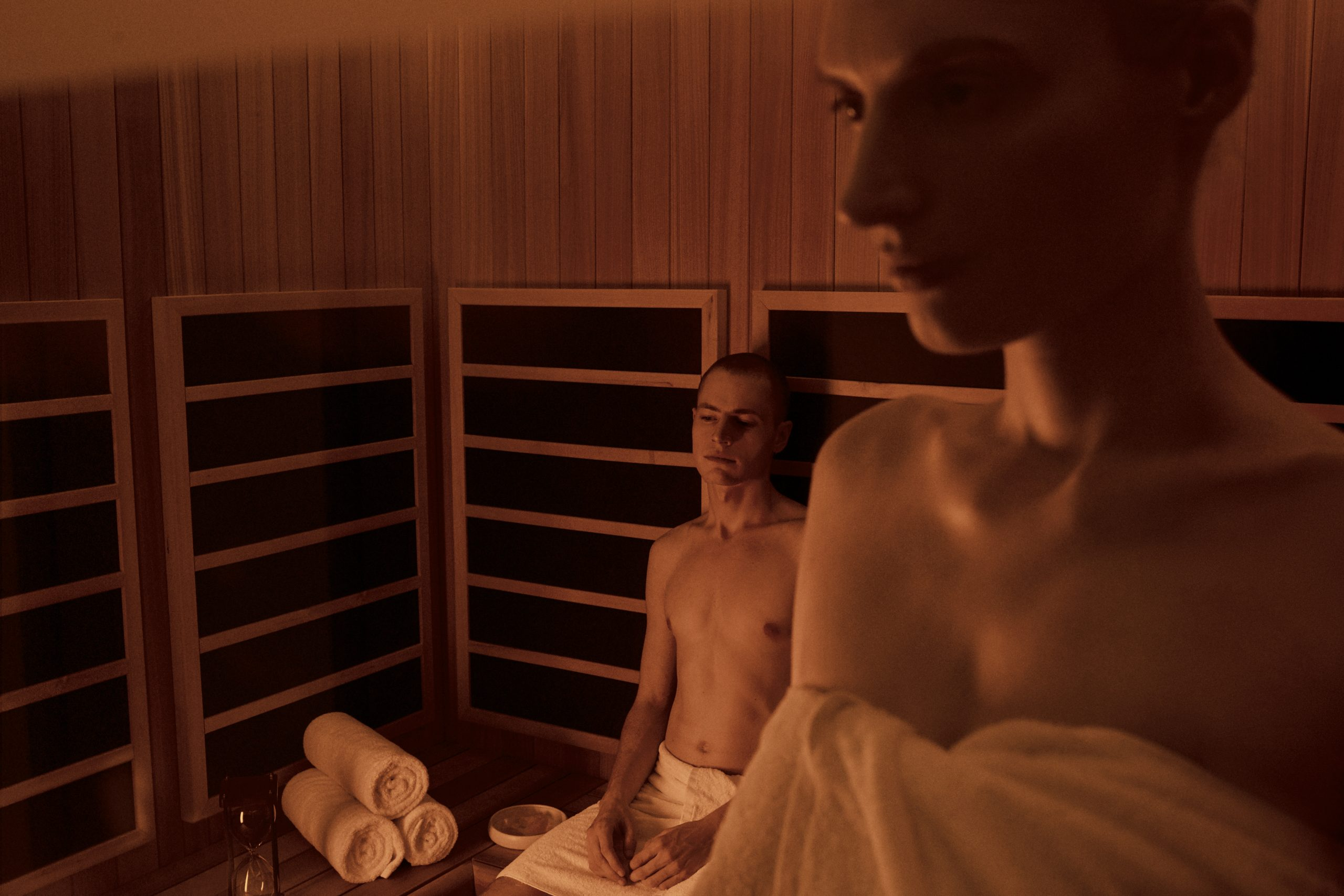 <couple in infrared sauna