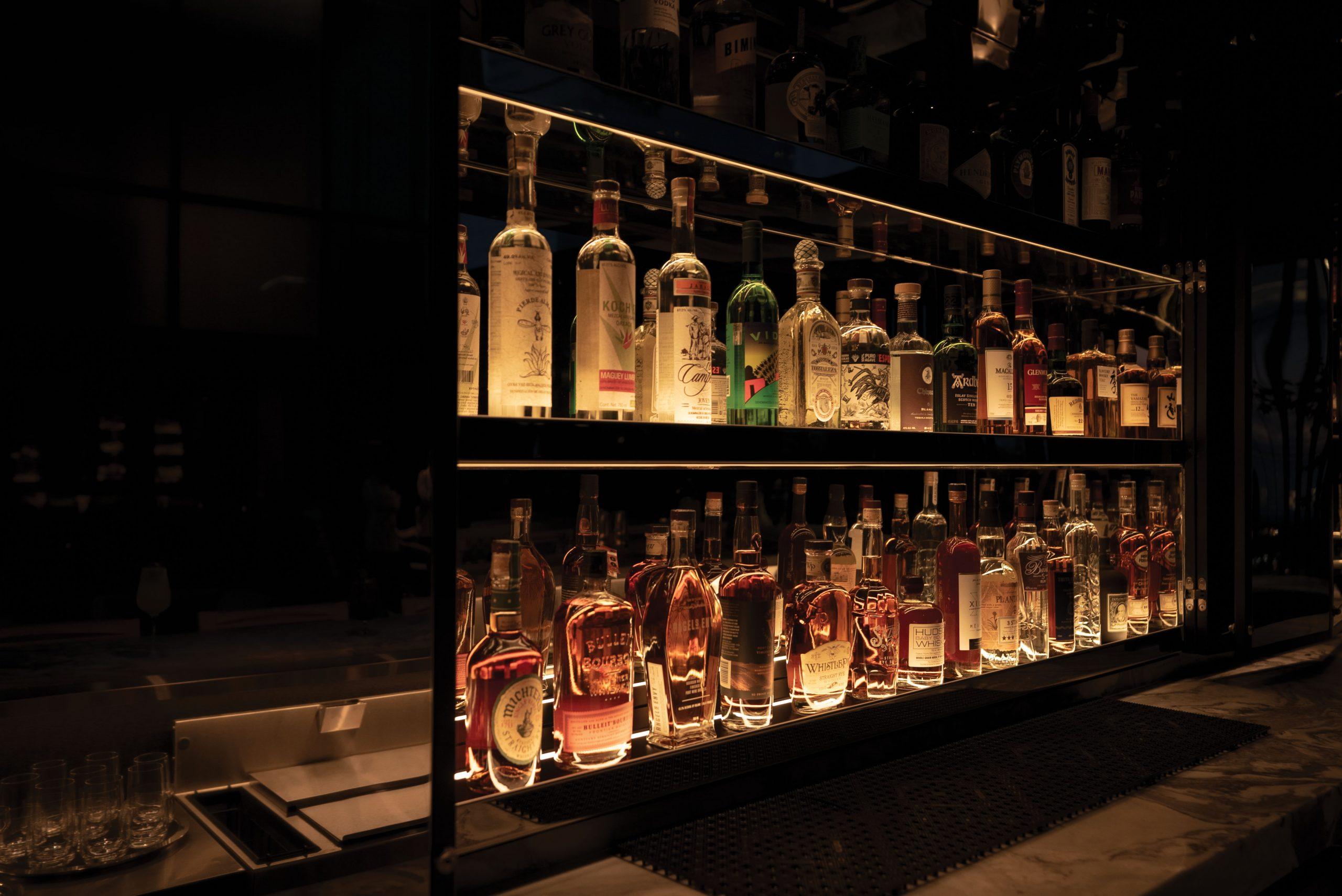 <terrace bar liquor shelving setup