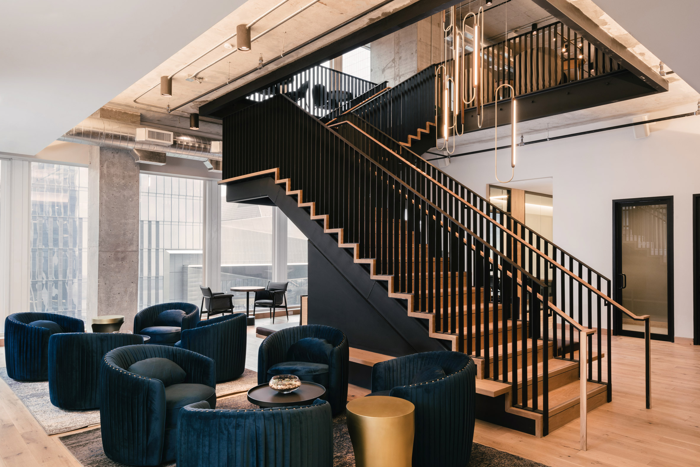 <industrious co working equinox hudson yards new york staircase and seating area