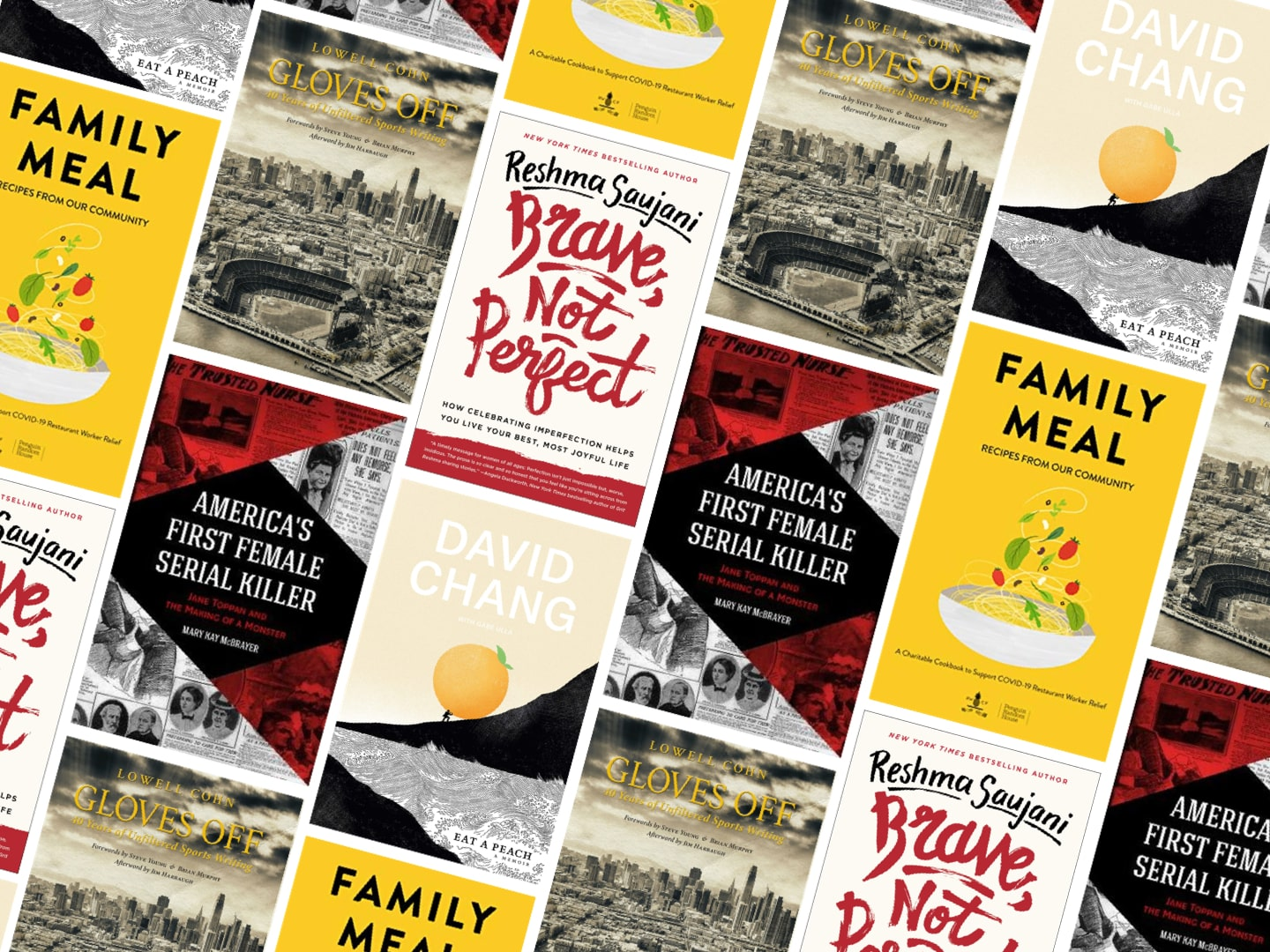 graphic layout of multiple book covers