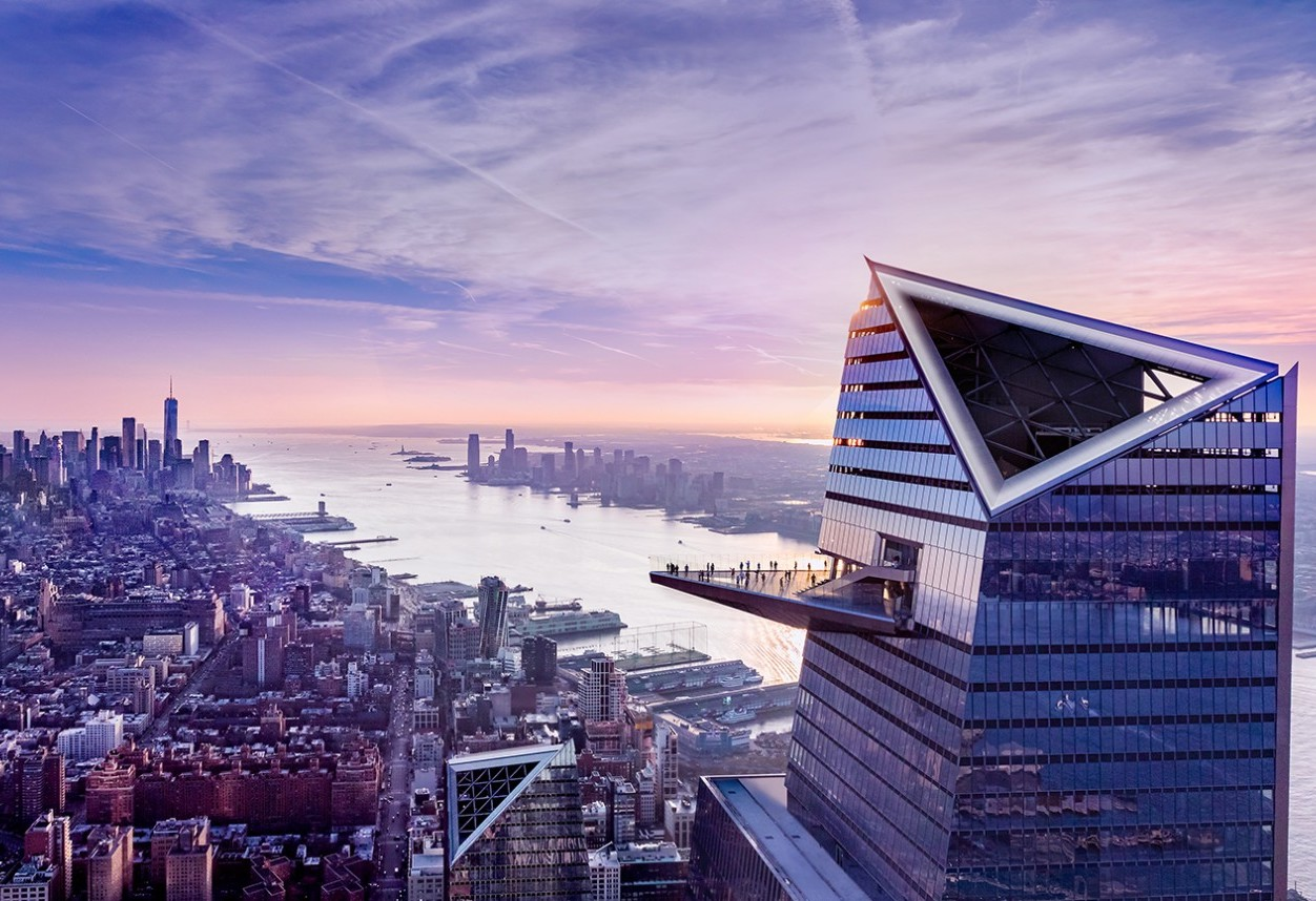 view of edge observation deck overlooking all of nyc skyline and hudson river
