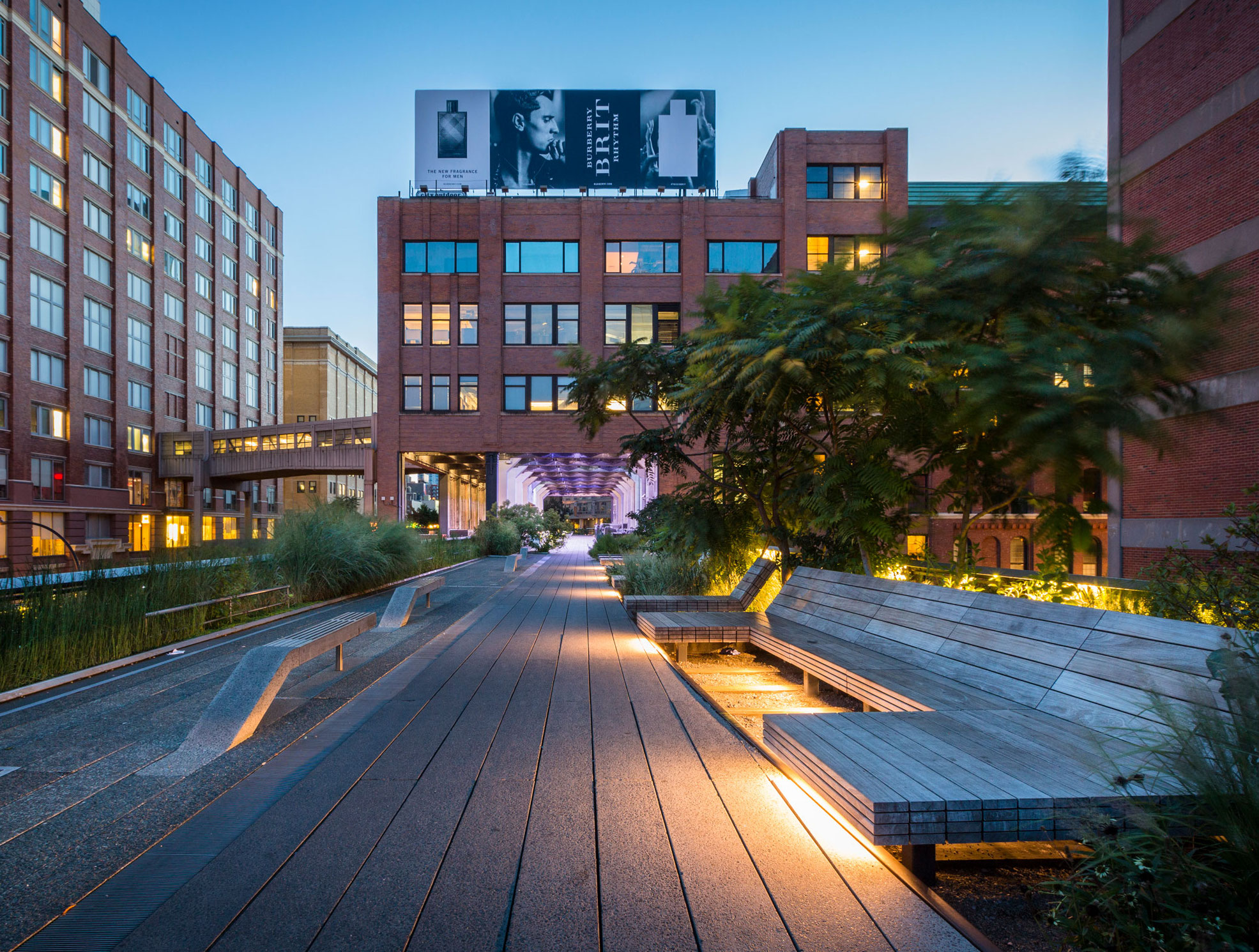 the highline nyc lounge seating with trees and garden plantings