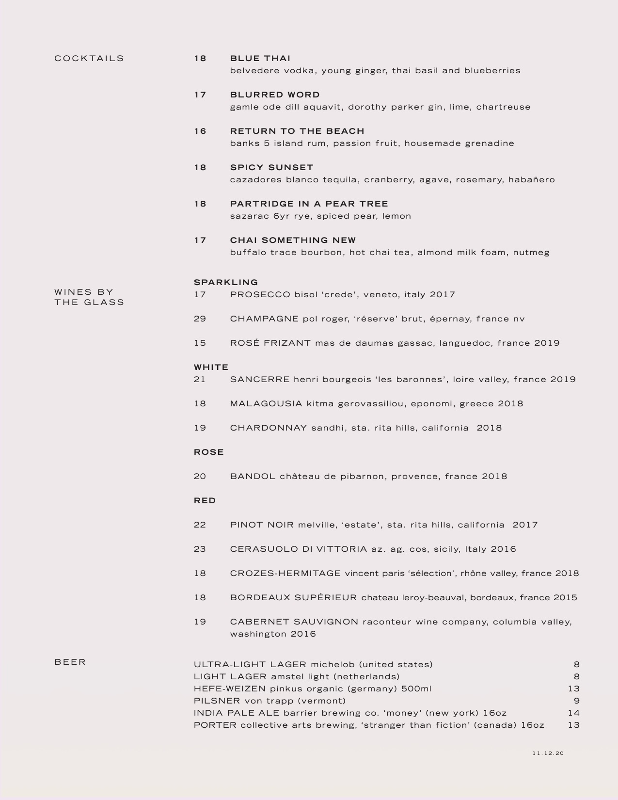 electric lemon beverage menu