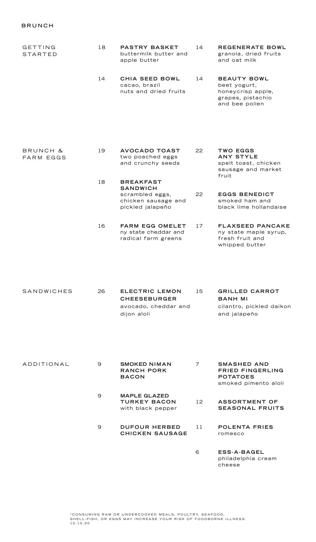 electric lemon brunch menu