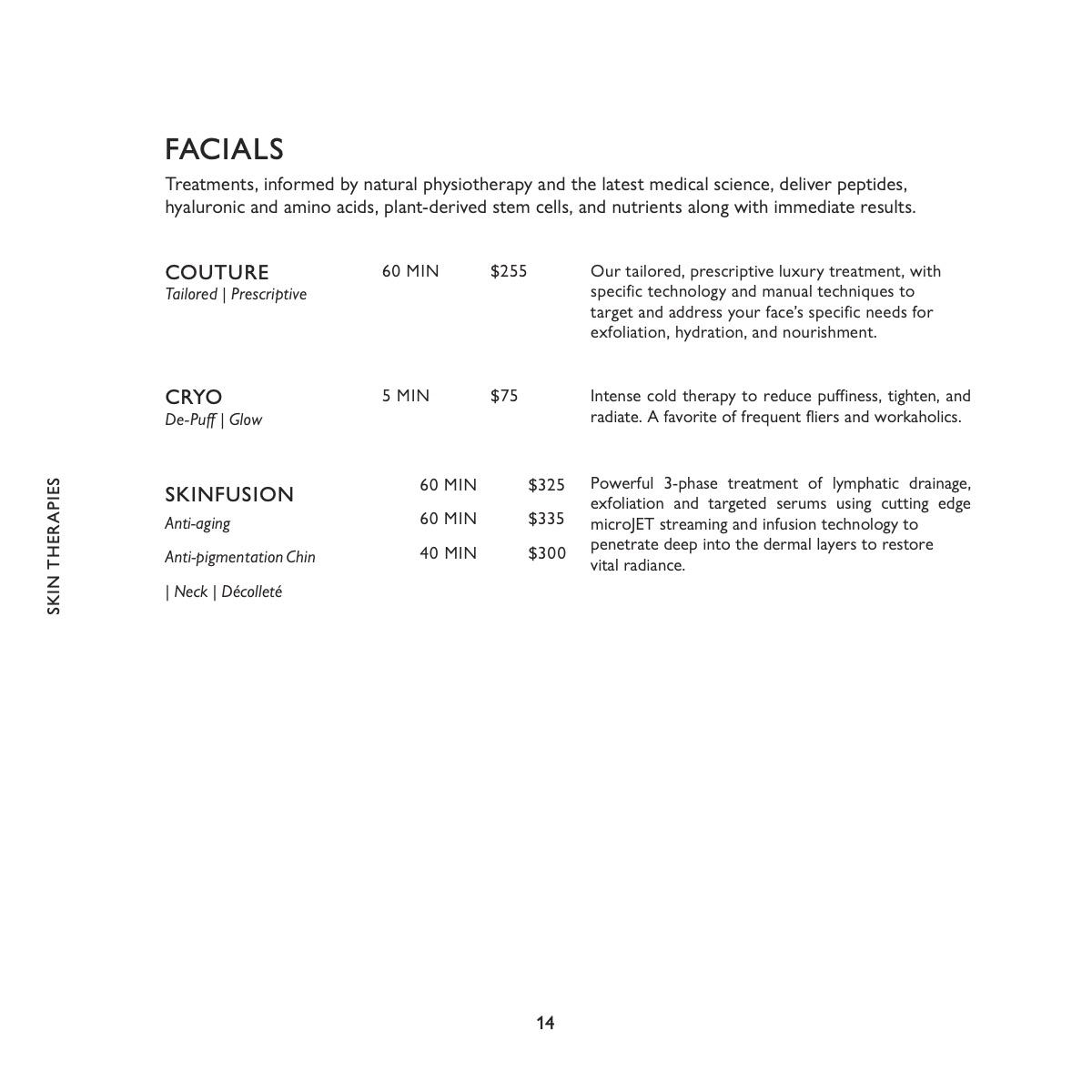 equinox spa menu facials