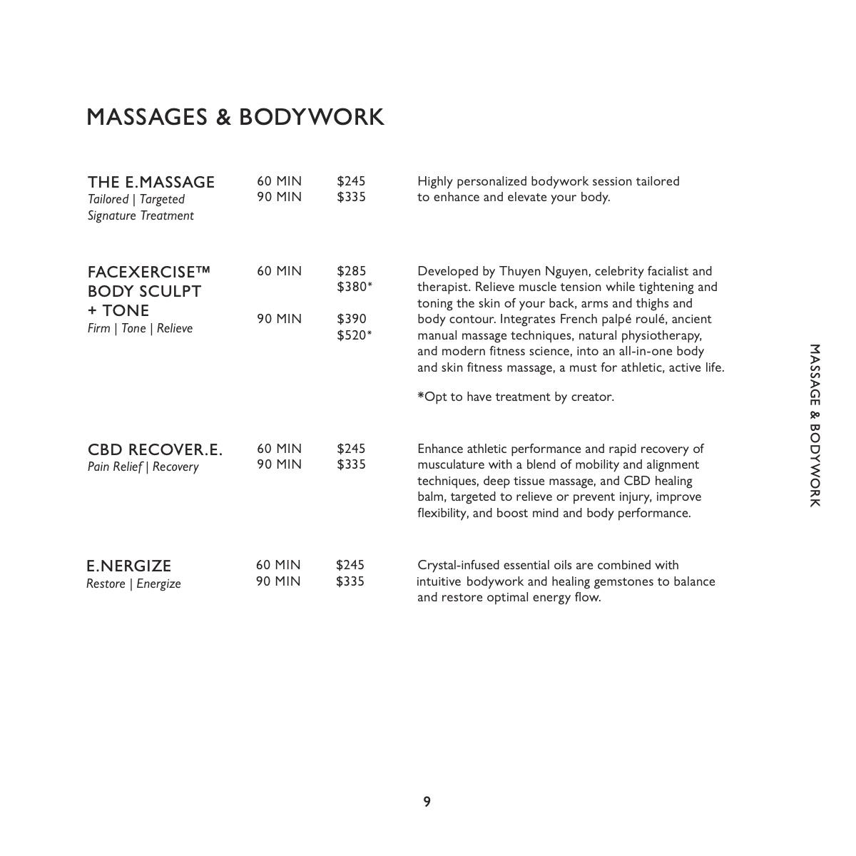 equinox spa menu massage