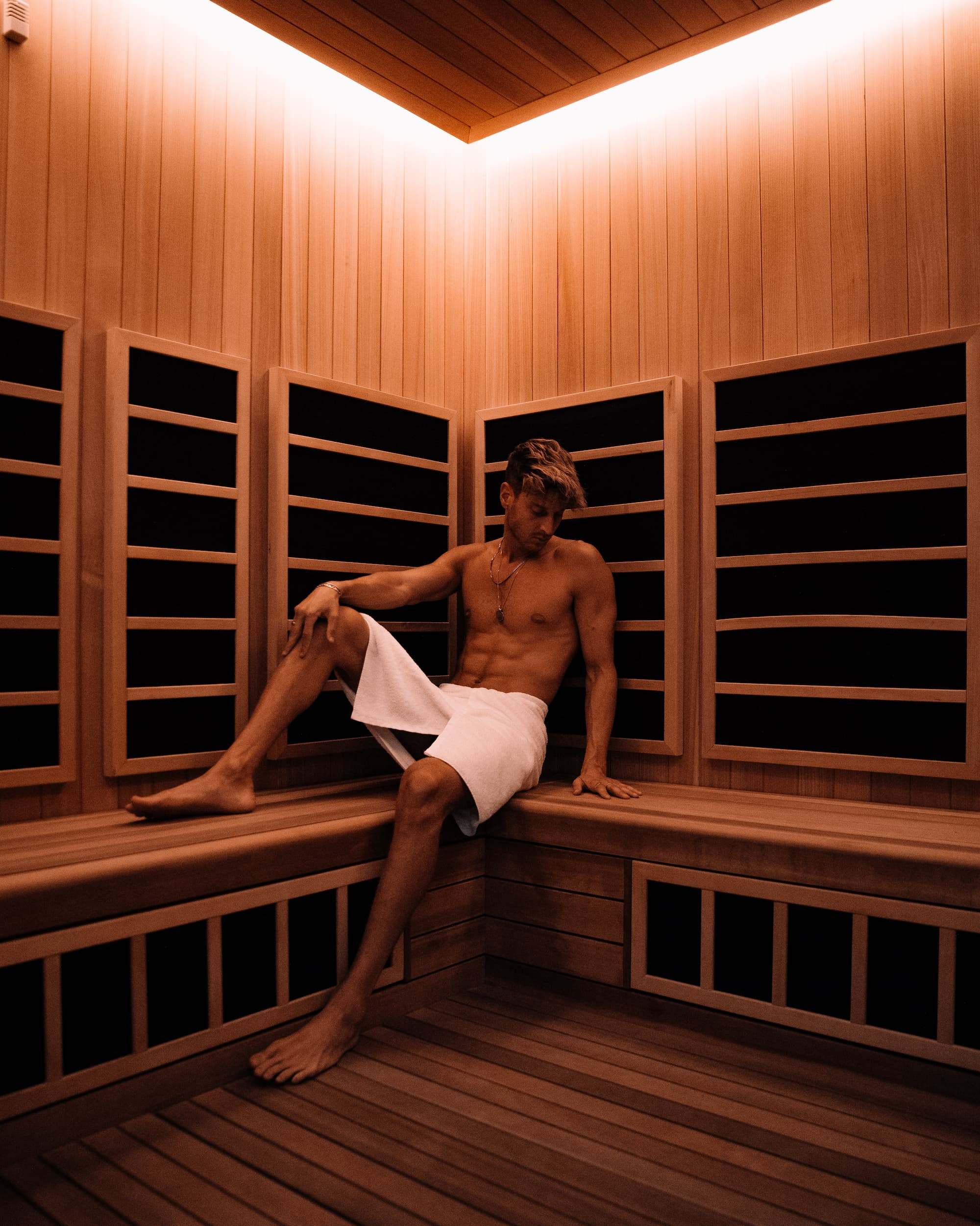 <man in infrared sauna