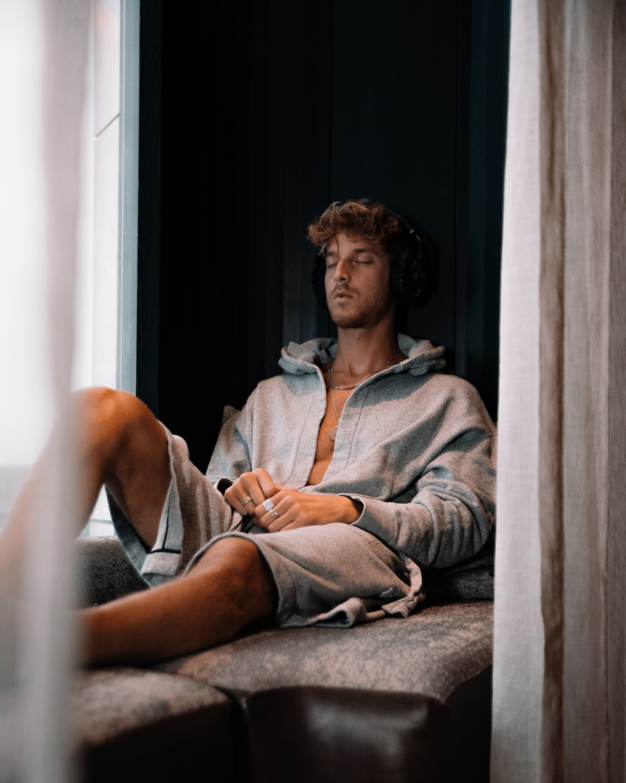 <man relaxing in spa post treatment area