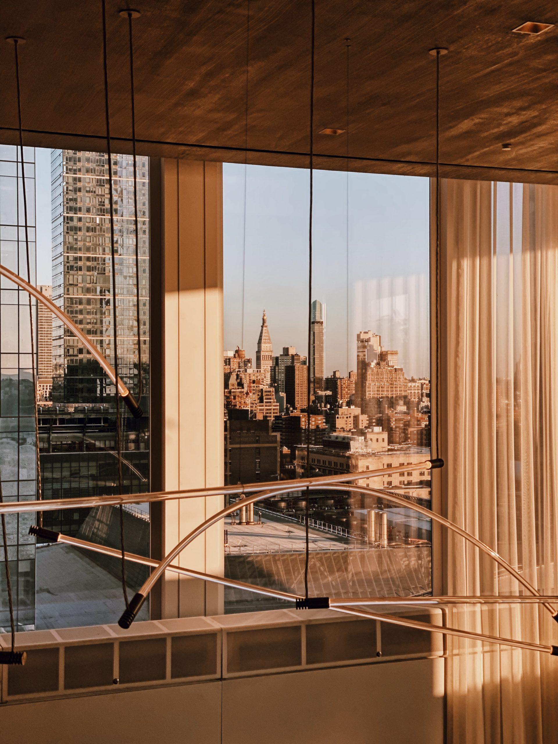 <view to midtown manhattan through restaurant windows