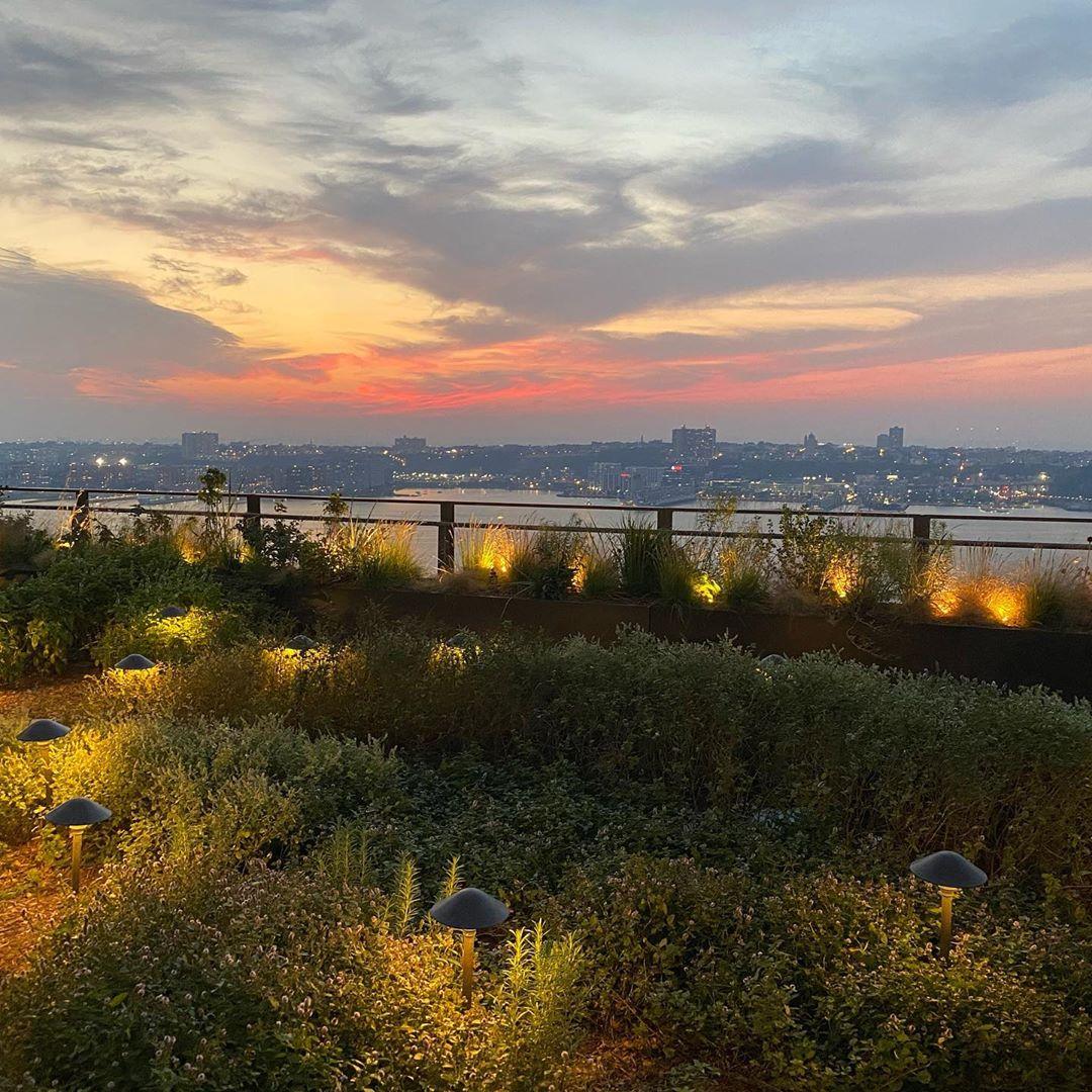 <sunset over river from herb garden on restaurant terrace