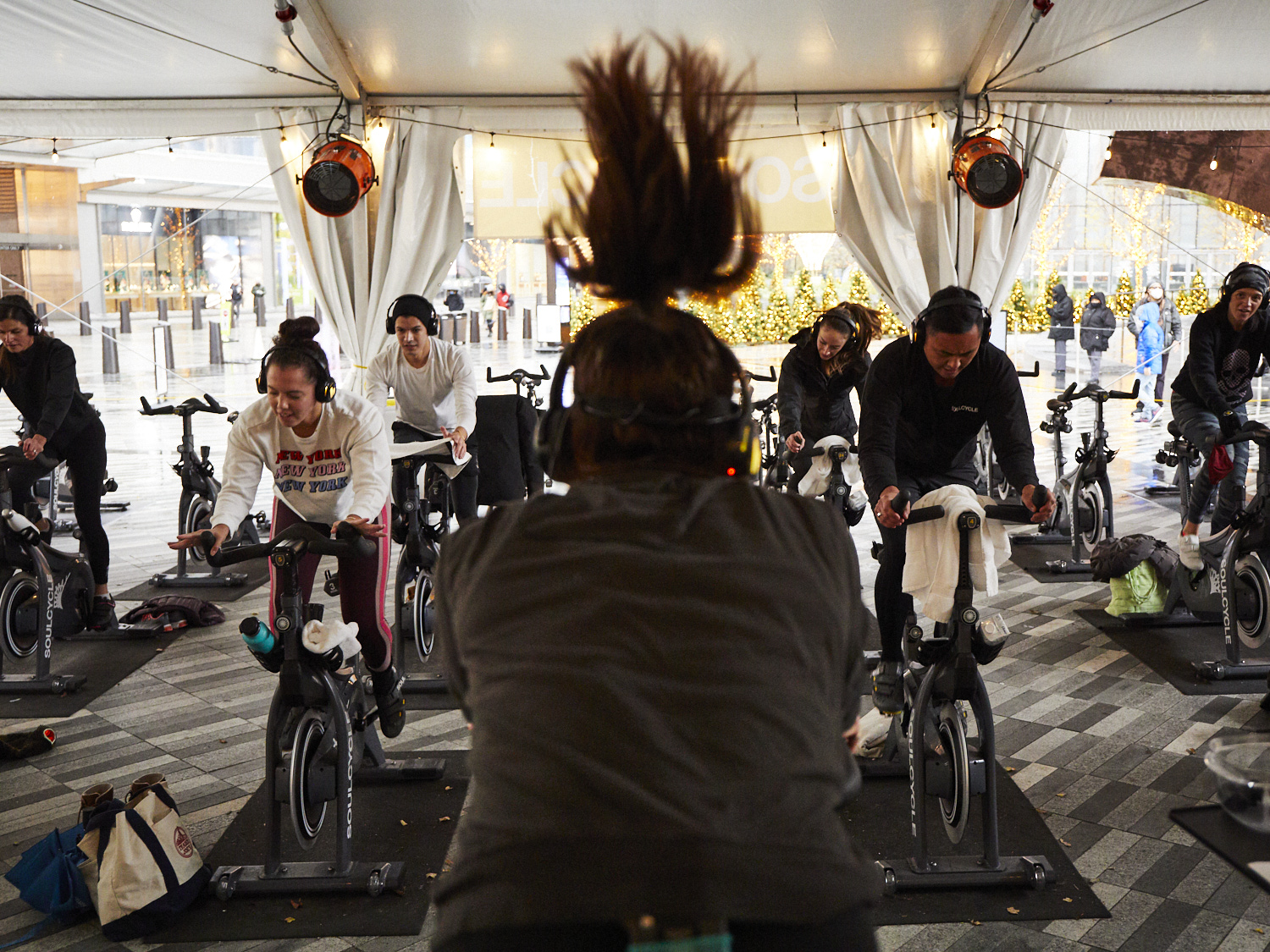 <outdoor soulcycle class